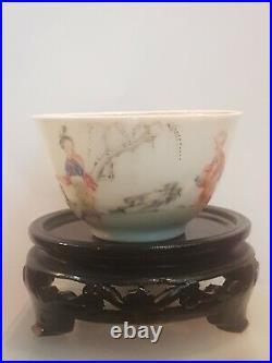 Antique Chinese Porcelain Tea Bowl 18thC Qianlong famille rose