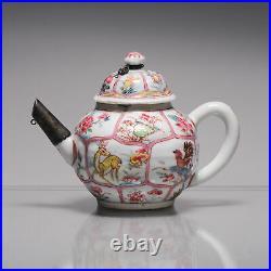 Antique Chinese Teapot Yongzheng/Qianlong Famille Rose Qing Deer Rooster