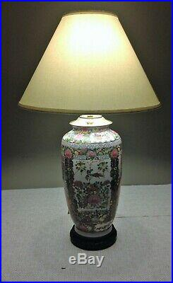 Antique Famille Rose Qianlong Period Red Mark Chinese Pottery Vase Table Lamp
