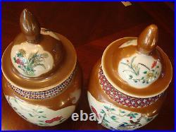 Antique Pair Chinese Famille Rose Jar Vases, 18th Century, Qianlong Period