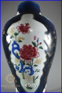 Antique Qianlong Chinese Powder Blue Famille Rose Enamels Porcelain Vase