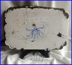 Antique Qianlong Kangxi Cloisonne Blue Enamel Plate Tray 18. Century Famille Rose