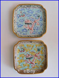 C. 18th Antique Chinese Qianlong Famille Rose Canton Enamel Dragon Tray Pair