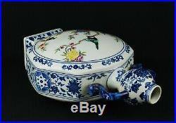China antique B&W Famille Rose enamels moon flask vase Qing Qianlong seal