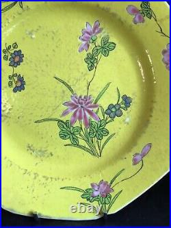 Chinese 18th c Qianlong Ruby Red back Yellow ground Famille Rose Octagonal Plate
