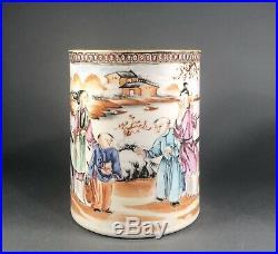 Chinese Antique 18th c Qianlong Porcelain Famille Rose Tankard Mug Cup C 1760