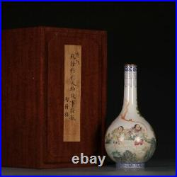 Chinese Antique Collection Famille Rose Figures Porcelain Vase