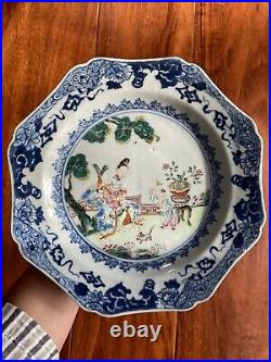 Chinese Antique Famille Rose Porcelain Plate Mother & Son Qianlong Period