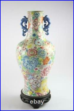Chinese Antique Famille Rose Thousand Flowers Vase Qian Long Mark