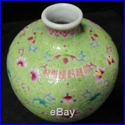 Chinese Antique Green Glaze Famille Rose Porcelain Vase Qianlong Mark