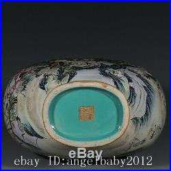 Chinese Old Fine Porcelain qianlong marked famille rose peony crane Vase 15.7