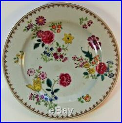 Chinese Porcelain A Pair Of Qianlong, Famille Rose Plates
