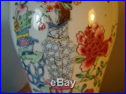 Chinese Qian Long (1736-1795) period nice 1 pair famille rose vases (Lamp) x8859