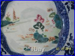 Chinese Qing Dy Qianlong Reign Export Blue&White Famille Rose Hand Painted
