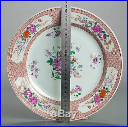 DELICATE! 26CM 18c Qianlong Chinese Porcelain Plate'Famille Rose''Flowers