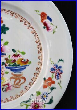 EXQUISITE ANTIQUE 18thC CHINESE QIANLONG PORCELAIN FAMILLE ROSE FLORAL PLATE