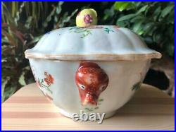 Excellent Chinese 18thC Qianlong Famille Rose Tureen with Lid