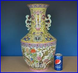 Exquisite Large Antique Chinese Famille Rose Porcelain Vase Marked Qianlong A739