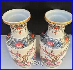 Famille Rose Doucai Enamel Vintage / Antique Qianlong Phoenix Vase Pair