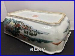 Famille Rose Enamel Landscape Scholar Motif Qianlong Antique Bowl 18th 19th c