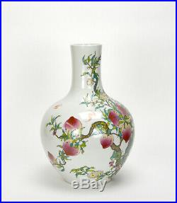 Fine Chinese Qing Qianlong MK Famille Rose 9 Peach Globular Porcelain Vase