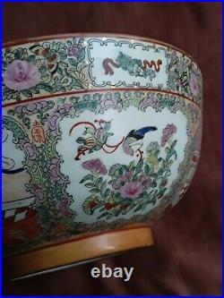 Huge Antique Chinese Famille Rose Medallion Punch Bowl Qianlong Mark