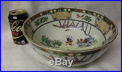 LARGE Antique 18th C Chinese Famille Rose Porcelain Punch Bowl Roosters Qianlong