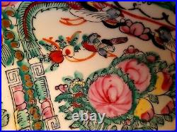 Large Antique Chinese Handpainted Famille Rose Fruit Bowl Marked To Base VGC