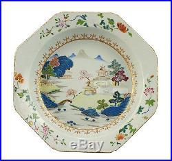 Large Antique Qianlong Period Chinese Famille Rose Porcelain Deep Serving Dish