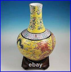 Large Chinese Imperial Qianlong Bottle Vase Fencai Dragon Yellow Famille Rose