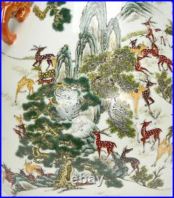 Large Chinese Qing Qianlong MK Famille Rose 100 Deer Hu Form Porcelain Vase
