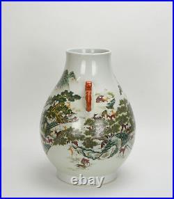 Large Chinese Qing Qianlong MK Famille Rose Fencai 100 Deer Porcelain Vase