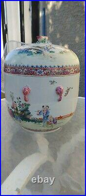 Large Qianlong Marked Famille Boys Playing Successful Sons Covered Jar Republic