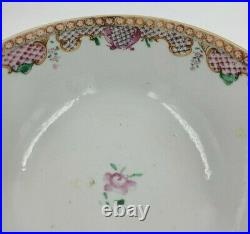 Lovely Antique Chinese Qianlong Famille Rose Lowestoft Punch Bowl Flowers 7