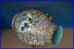 Magnificent Antique Chinese Famille Rose Porcelain Vase Marked Qianlong S7987