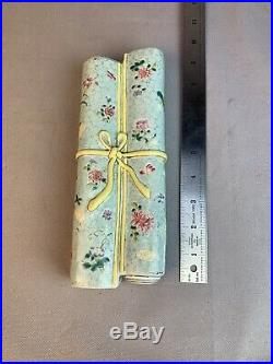 OLD Chinese porcelain Famille Rose Wall Scroll Sedan Vase Qianlong Qing Dynasty