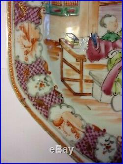Old Chinese Export Famille Rose Porcelain Plate Qianlong Mandarin Pattern 1780