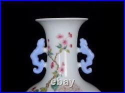 Old Famille Rose Chinese Porcelain Flower Vase Qianlong Marked BW589