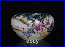 Old Famille Rose Chinese Porcelain Kids Brush Washer Qianlong Marked BW576