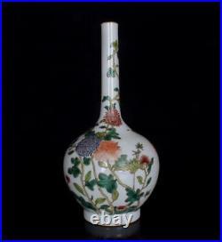 Old Famille Rose Chinese Porcelain Mum Vase Qianlong Marked BW506