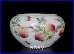 Old Famille Rose Chinese Porcelain Nine Peaches Brush Washer Qianlong Mark BW572