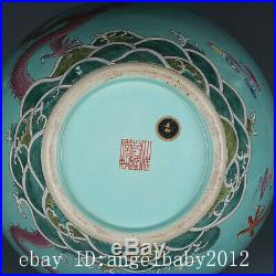 Old Fine Chinese Porcelain qianlong marked famille rose dragon cloud Vases 20