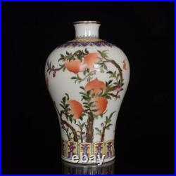 Old Pair Chinese Famille Rose Porcelain Vase Qianlong Marked BW632