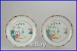 Pair 27.6cm of Antique Chinese 18th C Qianlong Famille Rose Plate Lady o