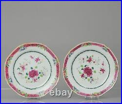 Pair Antique 18C Famille Rose Dishes with Peony Qianlong Decoration
