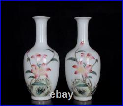Pair Old Famille Rose Chinese Porcelain Flower Vase Qianlong Marked BW477