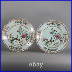 Pair of Chinese double peacock famille rose plates, Qianlong (1736-95)