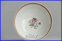 Perfect! Antique 18th Qianlong Qing Insects Chinese Porcelain Bowl Famille Rose