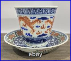 Qianlong Antique Qing Dynasty Famille Rose RARE Dragon Cup & Saucer 18th Century
