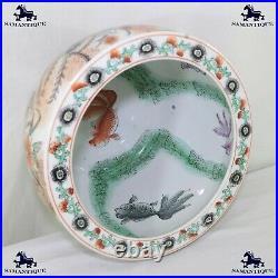 Qianlong Fish Bowl Vase Cloisonné Famille Rose 12 Diameter Koi Goldfish 041208